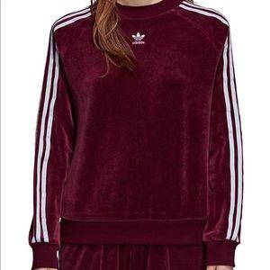 Adidas Trefoil Velvet Track Suit— Maroon